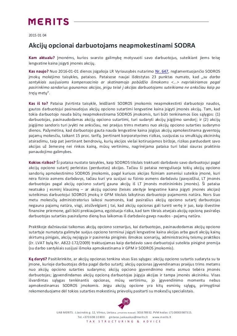 akcijų pasirinkimo sandoriai jungiantis ir įsigyjant)